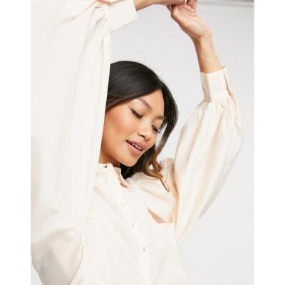 ワイ エー エス Y.A.S レディース ブラウス・シャツ トップス shirt with balloon sleeves and pleat details in cream クリーム