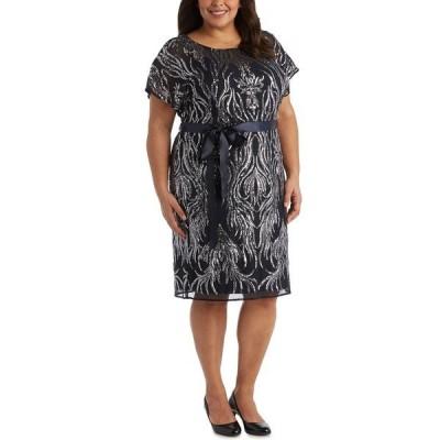 アールアンドエムリチャーズ ワンピース トップス レディース Plus Size Sequined Sheath Dress Navy Blue