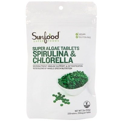 Spirulina & Chlorella, Super Algae Tablets, 250 mg, 225 Tablets