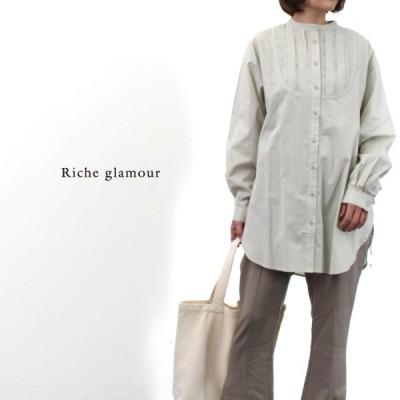 スタンドカラー シャツ ブラウス レディース タックブザムシャツ ロング 長袖 ブザム 綿ローン スリット オフィスカジュアル かわいい 楽ちん ゆったり 送料無料