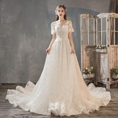 ウェディングドレス ウェディングドレス白 パーティードレス パフスリーブ 花嫁ロングドレス 簡約 結婚式露背 二次会 レース お呼ばれ 挙式