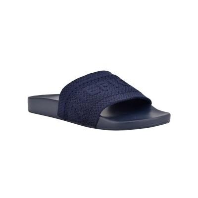 トミー ヒルフィガー サンダル シューズ レディース Women's Dollop Knit Logo Pool Slides Dark Blue