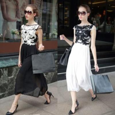 ボートネック 透け感 花柄刺繍 エレガント チュール 高級感 豪華 ロング ドレス