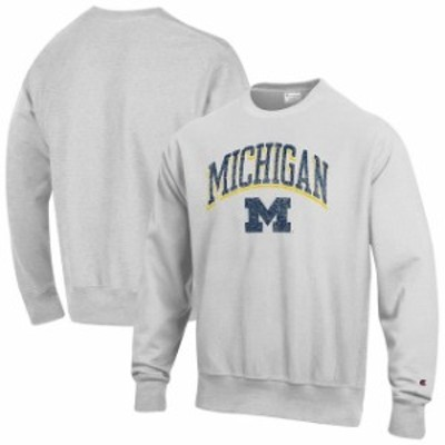 Champion チャンピオン スポーツ用品  Champion Michigan Wolverines Gray Arch Over Logo Reverse Weave Pullover Sweatshi