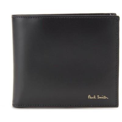 訳あり 革キズ 箱つぶれ ポールスミス Paul Smith 二つ折り財布 M1A 4833 AMULTI79 レザー ブラック メンズ 財布 新品