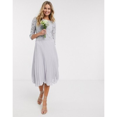 オアシス レディース ワンピース トップス Oasis bridesmaid lace cap sleeve pleated dress in gray