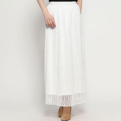 スタイルブロック STYLEBLOCK ラッセルレースプリーツスカート (ホワイト)
