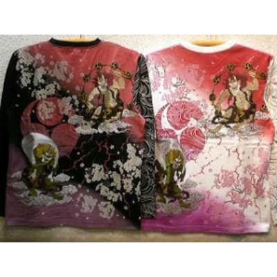 華鳥風月 和柄Tシャツ長袖 風神雷神刺繍