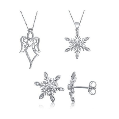 Classy Rhodium Plated Brass Diamond Accent Angel, Snowflake Pendant and Snowflake Earring 3 Piece Set for Teen Girls Her Womens Fashion Jewe
