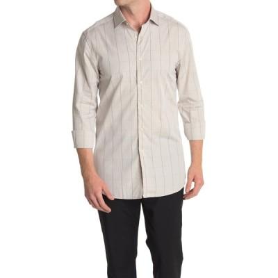 レイス メンズ シャツ トップス Geno Windowpane Print Regular Fit Shirt TAUPE