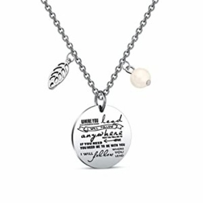 Zuo Bao Where You Lead I Will Follow Hand Stamped Pendant Necklace and Keyring for Mother and Daughter (Necklace 2)