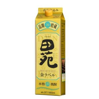 田苑 焼酎 金ラベル 長期貯蔵酒 20度 1.8L 1800ml パック 麦焼酎 田苑酒造