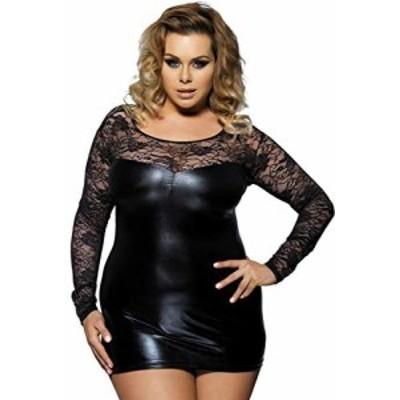 comeondear ワンピース セクシードレス ボディコン 大きいサイズ レザー チュニック ミニドレス 透け 下着 女性 セクシー ブラック