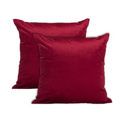 Encasa Homes Velvet Throw Pillow Cushion Cover 2 pcs Set  Red  20 x 20 inch