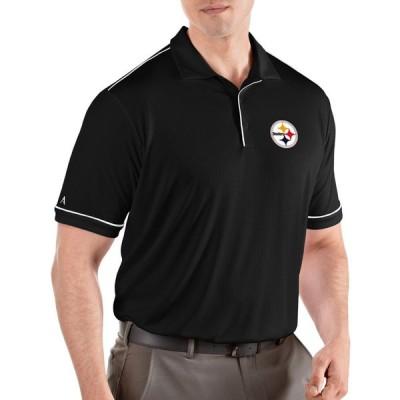アンティグア Antigua メンズ ポロシャツ トップス Pittsburgh Steelers Salute Black Polo
