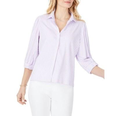 フォックスクラフト レディース シャツ トップス Stretch Lavender Stripe Shirt