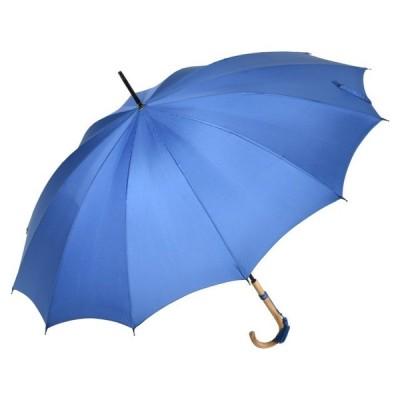 おしゃれな浅張りフォルムのラタン(籐)ハンドル 12本骨 レディース長傘(ロイヤルブルー) 親骨55cm 雨傘 かさ工房ワカオ 日本製傘 Tokyo Made WAKAO 婦人 女