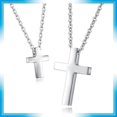 Rockyu ジュエリー 十字架 ネックレス シルバー カップル 人気 ステンレスチェーン クロスペンダント 小さい 十