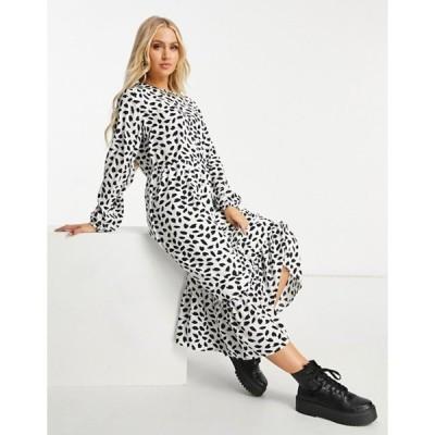 ミスガイデッド レディース ワンピース トップス Missguided midi smock dress with ruffle hem in dalmatian