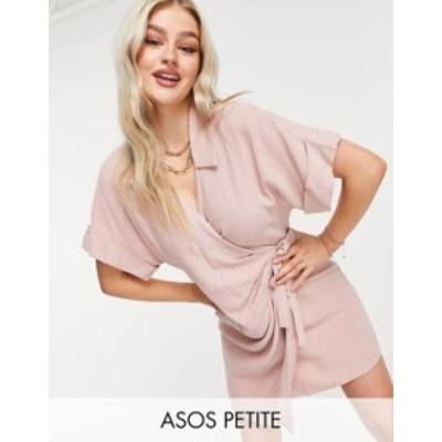 エイソス レディース ワンピース トップス ASOS DESIGN Petite linen wrap mini dress in washed pink Washed rose