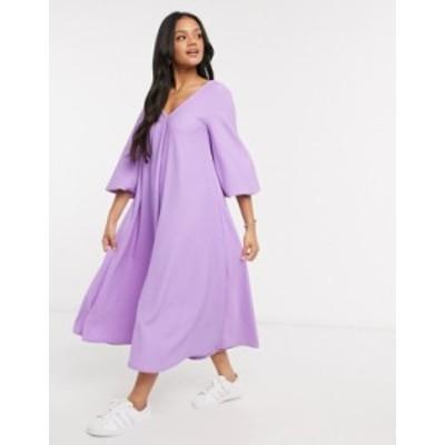 エイソス レディース ワンピース トップス ASOS DESIGN textured smock midi dress with v neck in violet Violet