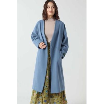 ROSE BUD/ローズ バッド ノーカラーウールコート ブルー S