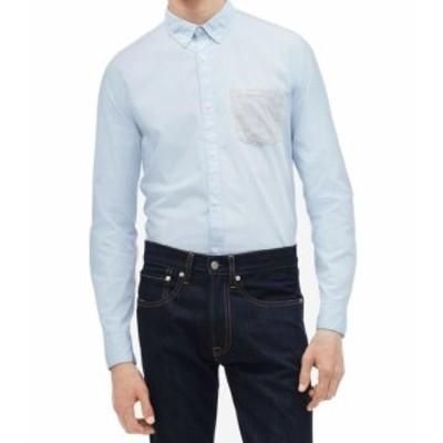 Calvin Klein カルバンクライン ファッション アウター Calvin Klein Mens Blue Size 2XL Button Down Stripe Pocket Shirt