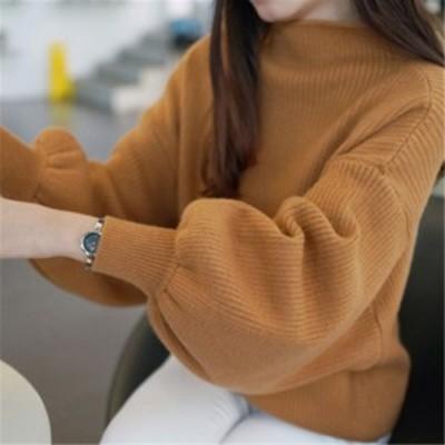 セーター ニット ボートネック 長袖 ボリューム袖 無地 大人可愛い ゆったり 体型カバー カジュアル 韓国ファッション 春夏 デート オフ