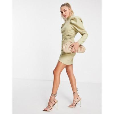 ラヴィッシュアリス ミニドレス レディース Lavish Alice puff sleeve mini dress in green エイソス ASOS グリーン 緑