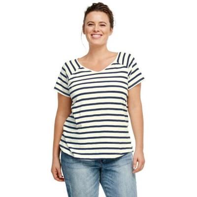 レディース 衣類 トップス ellos Women's Plus Size Rounded V-neck Tee Tシャツ