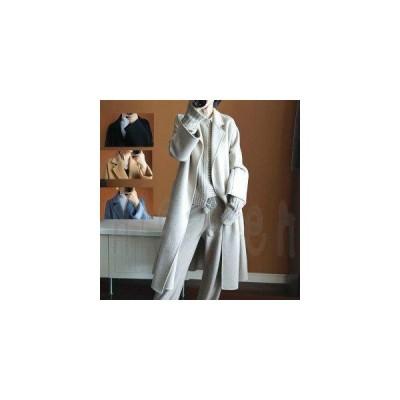 上品ロングコート ウール100% リバーコート ダブルフェイスコート 一枚仕立て でかポケット付き 防寒 大人 冬 SからXL 大人      XS S M L