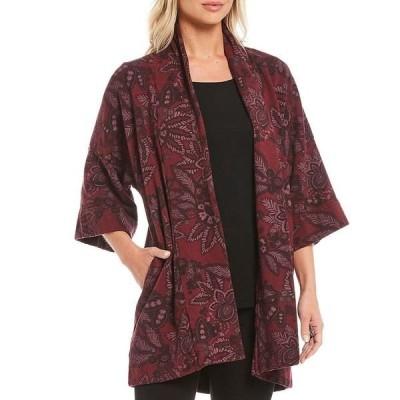 ブリンウォーカー レディース ジャケット&ブルゾン アウター Margo Bamboo Fleece Print Shawl Collar 3/4 Sleeve Open Front Coat Vigne