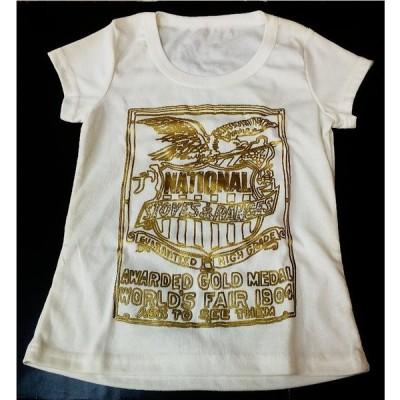 アウトレット CONSTELLE レディースラメ付きプリントTシャツ(ホワイト)T-11
