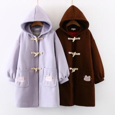 ロリータダッフルコートレディース 可愛い少女コート中綿入2色ジャケット可愛い 日系森ガール風仕事着OL風ロングアウターエスニック二枚