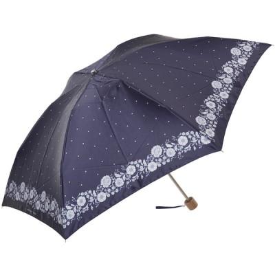 レディース プライベートレーベル婦人ミニ傘 裾花柄 ネイビー 55Cm