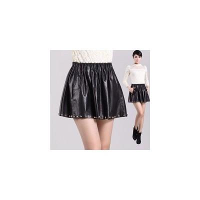 本革 ラムレザー スカート フレアースカート ギャザースカート レザーフレアスカート Aライン ウエストゴム 鋲付き ミニスカート 6サイズ展開