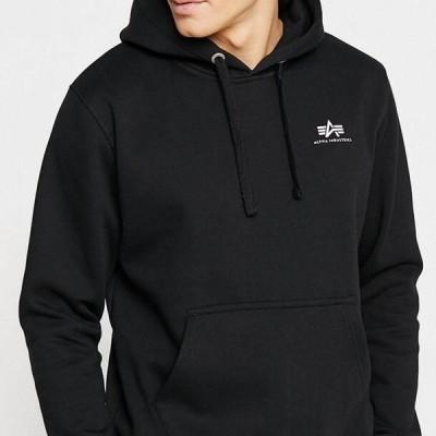 アルファインダストリーズ メンズ ファッション BASIC HOODY SMALL LOGO - Hoodie - black