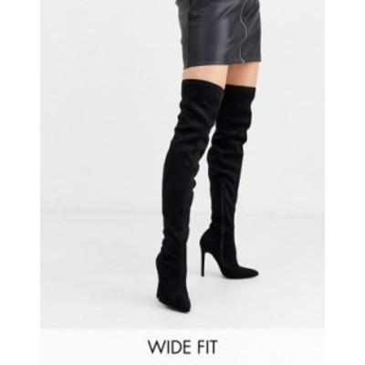 エイソス レディース ブーツ・レインブーツ シューズ ASOS DESIGN Wide Fit Kendra stiletto thigh high boots in black Black