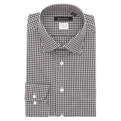 ドレスシャツ/長袖/メンズ/NON IRON STRETCH/ワイドカラードレスシャツ チェック 〔EC・BASIC〕 ブラック×ホワイト