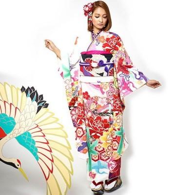 振袖 着物 袷 洗える着物 単品 JAPAN STYLE お仕立て上がり絵羽着物 成人式 鶴に牡丹(白 FJ12)絵羽 ツル 縁起物 花柄 ぼたん 白