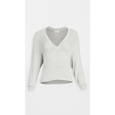 Leset レディース ニット・セーター トップス Lori Brushed V Sweater Light Heather Grey