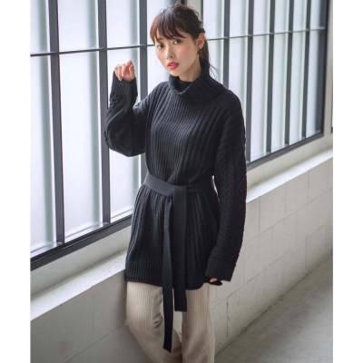 ジーラ GeeRA 【WEB限定】ベルト付編地切替タートルニットチュニック (ブラック)