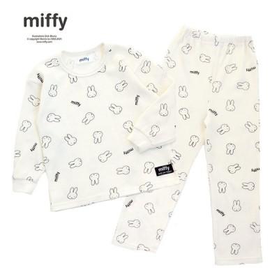 ベビーザらス限定 miffy ミッフィー 長袖ワッフルパジャマ 総柄 (ナチュラル×100cm)