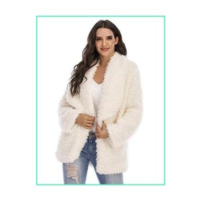 Women\'s Fuzzy Fleece Jacket Lapel Open Front Long Jackets Faux Fur Warm Winter Cardigan Coat Outerwear with Pockets (Light beige,Large)並行輸入
