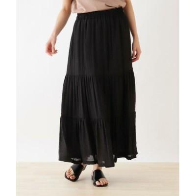 SHOO・LA・RUE/シューラルー スラブティアードスカート ブラック(019) 00(FREE)
