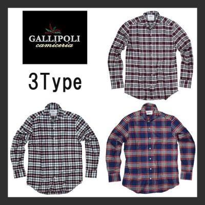 GALLIPOLI camiceria ガリポリカミチェリア ネルシャツ ロングスリーブ 長袖シャツ チェック メンズ カジュアル 上質