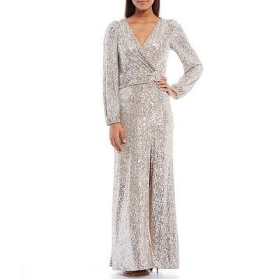 エスケープ レディース ワンピース トップス Long Sleeve Allover Sequin Lace Front Slit Waist Ruch Detail Sheath Dress Nude/Silver