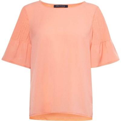 フレンチコネクション French Connection レディース Tシャツ トップス Classic Crepe Pintuck Shoulder T-Shirt Orange