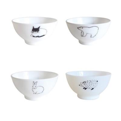 松尾ミユキ ミルクガラス ボウル お皿 食器 レンジOK 皿 ガラス キッチン 雑貨 カフェ かわいい 可愛い おしゃれ 白 動物 猫 シンプル お茶