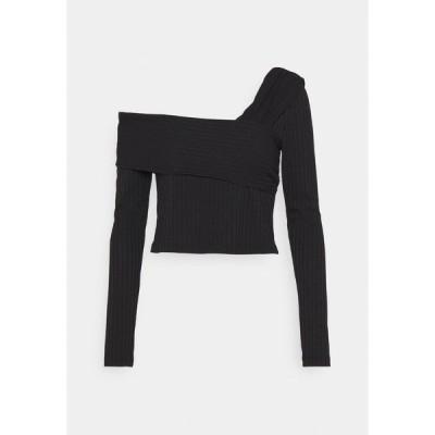 エヌ エー ケイ ディ カットソー レディース トップス NA-KD X ZALANDO EXCLUSIVE OFFSHOULDER DETAIL - Long sleeved top - black
